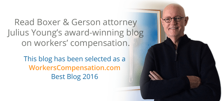 Read Boxer & Gerson attorney Julius Young's award-winning blog on workers' compensation. The blog has been selected as a workerscompensation.com Best Blog 2016